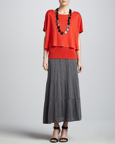Eileen Fisher Linen Jersey Loose Tee, Organic Cotton Slim Tank & Tiered Maxi Skirt
