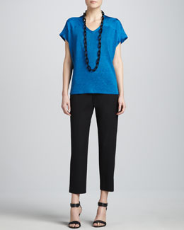 Eileen Fisher V-Neck Linen-Silk Jersey Box Top & Organic Cotton Slim Ankle Pants, Petite