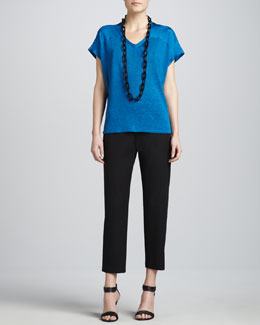 Eileen Fisher V-Neck Linen-Silk Jersey Box Top & Organic Cotton Slim Ankle Pants, Women's