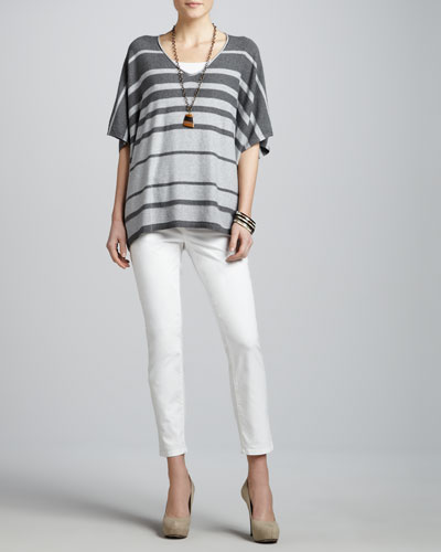Eileen Fisher Variegated Striped V-Neck Box Top, Slim Tank & Skinny Ankle Jeans