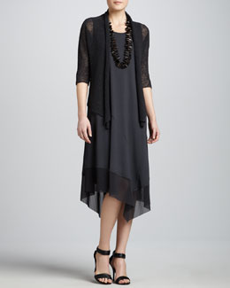 Eileen Fisher Cropped Dolman-Sleeve Cardigan & Asymmetric Sheer-Hem Dress