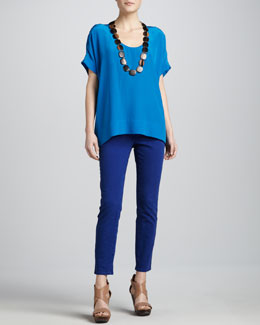 Eileen Fisher Silk Box Top & Slim Ankle Jeans, Petite
