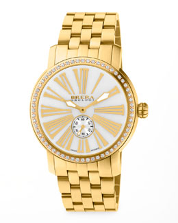 Brera 42mm Valentina III Diamond Golden Watch Head & 22mm Valentina II Bracelet Strap