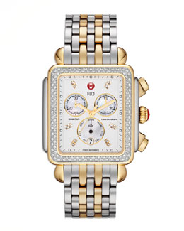 MICHELE Deco XL Diamond Two-Tone Watch Head & 20mm Bracelet Strap