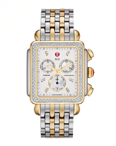 MICHELE Deco XL Diamond Two-Tone Watch Head & 20mm Bracelet Strap