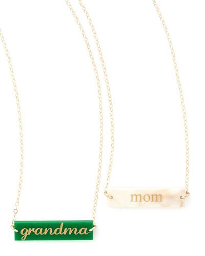 Enamel Bar Pendant Necklace