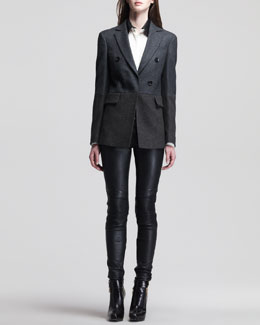 Belstaff Bennett Double-Breasted Jacket, Deyton Long-Sleeve Shirt & Wilton Skinny Leather Moto Pants