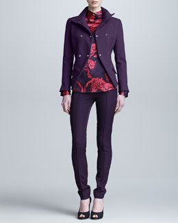 Versace Collection Long-Sleeve Printed Blouse, Double-Breasted Jacket & Fitted Pants
