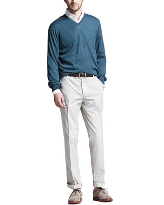 Fine-Gauge V-Neck Sweater, Button-Down Slim-Spread Collar Shirt & ...