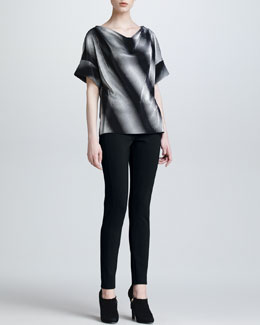 Armani Collezioni Drape-Neck Top & Double-Faced Jersey Leggings