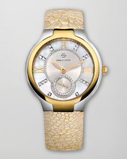 Philip Stein Small Two-Tone Mother-of-Pearl Diamond Watch Head & Golden Ostrich Strap