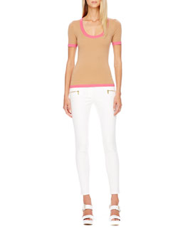 MICHAEL KORS Contrast-Trim Cashmere Top & Zip-Pocket Skinny Jeans