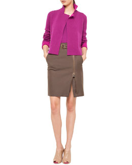 Akris Reversible Short Cashmere Cardigan, Scoop-Neck Pullover & Belted Side-Zip Skirt