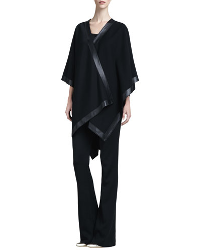St. John Collection Leather-Trim Milano Wrap, Contour & Tank Kasia Milano Boot-Cut Pants