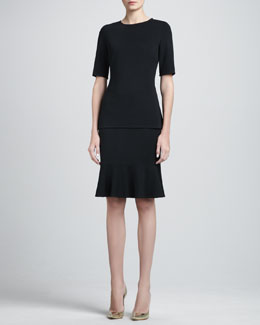St. John Collection Back-Peplum Milano Top & Milano Flounce Pencil Skirt