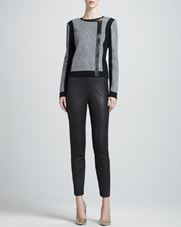 St. John Collection Texture-Front Zip Bomber Jacket & Luxe Leather-Front Knit-Back Pants