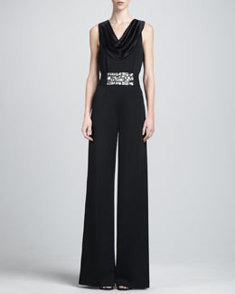 St. John Collection Sleeveless Milano Jumpsuit & Crystal Duchesse Belt with Elastic