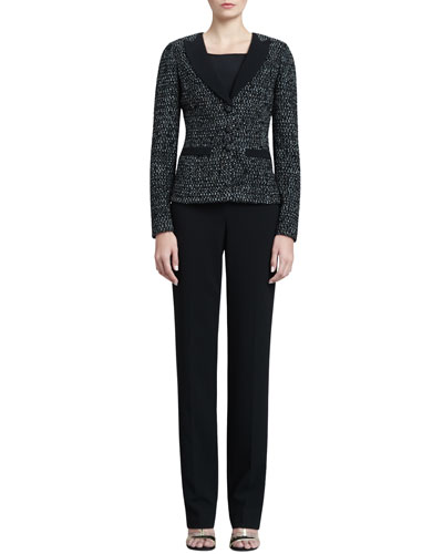 St. John Collection Tweed Tuxedo Jacket, Shell with Shoulder Shirring & Diana Marocain Pants