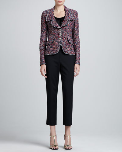 St. John Collection Sequined Pocket-Flap Jacket, Sleeveless Pleated-Neck Shell & Emma Cropped Pants with Pockets
