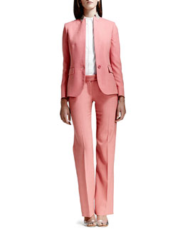 Stella McCartney Textured Stand-Collar Blazer, Heart-Collar Cotton Poplin Blouse & Straight-Leg Pants