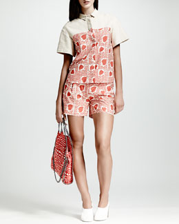 Stella McCartney Heart & Lip-Print Blouse & Pleated Shorts