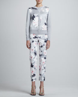 St. John Collection Floral-Print Cardigan & Cropped Floral-Print Trousers