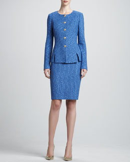 St. John Collection Button-Up Crewneck Jacket & Tweed Pencil Skirt, Pacific/Multi