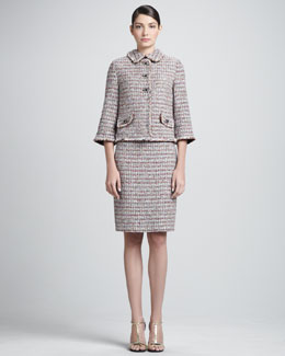 St. John Collection Glitter Eyelash Stripe Tweed Knit Jacket and Sheath Dress, Caviar/Multi