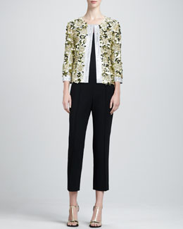 St. John Collection Sequin Jacket, Sleeveless Satin Blouse & Danielle Flare-Hem Capri Pants