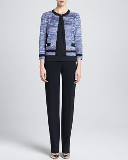 St. John Collection Tweed Knit Jacket, Contour Tank & Straight Leg Diana Pants