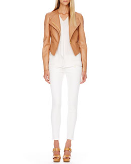Michael Kors  Asymmetric Jacket, Silk Top, Skinny Jeans, Miranda Grained Tote & Sandal