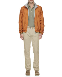 Loro Piana Windmate Reversible Bomber Jacket, Huck Long-Sleeve Polo Shirt & Comfort Dyed Lightweight-Cotton Pants