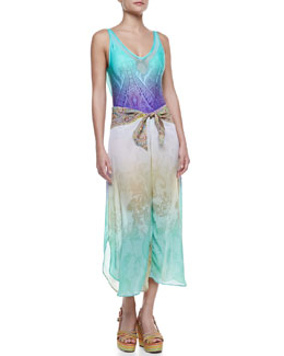 Saha Uma Drape-Back Printed One-Piece & Knot-Front Coverup Pants