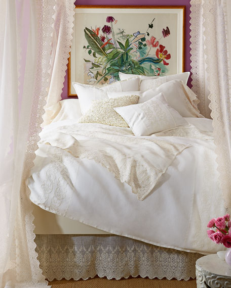 """Annabelle Lace-Edged Bed Scarf, 30"""" x 90"""""""