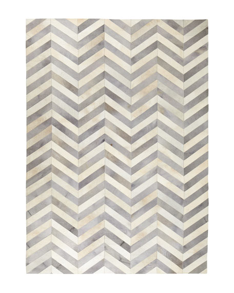 Windsor Chevron Hide Rug, 8' x 11'