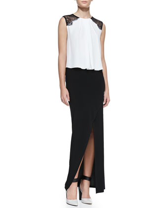 Lorretta Lace-Shoulder Sleeveless Top and Cross-Front Jersey Maxi Skirt