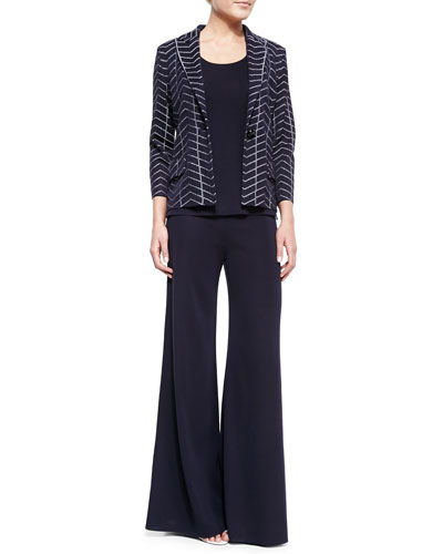 Spider Web One-Button Jacket, Slim Scoop-Neck Tank & Palazzo Wide-Leg Pants, Petite