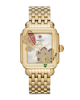 MICHELE Limited Edition Deco Jardin Gold Diamond-Dial Watch Head & 18mm Deco Gold Bracelet Strap