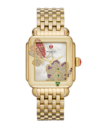 Limited Edition Deco Jardin Gold Diamond-Dial Watch Head & 18mm Deco Gold ...