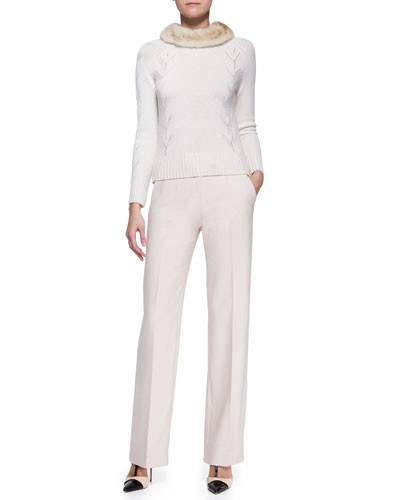 Cashmere Sweater with Mink Fur Collar and Side-Zip Wide-Leg Pants