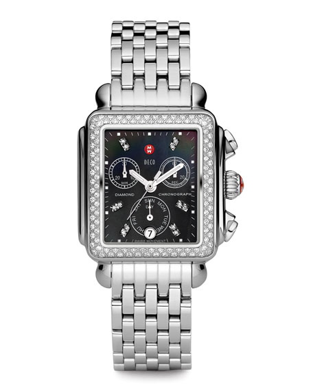 18mm Deco Diamond, Black Dial Watch Head, Steel