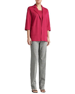 St. John Collection Milano Knit Topper with Pockets, Sleeveless Milano Knit Contour Tank & Plaid Straight-Leg Diana Pants