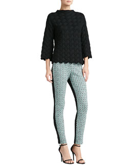 St. John Collection Basketweave Knit Funnel Neck Sweater & Houndstooth Tweed Knit Ankle Pants