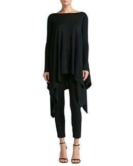 St. John Collection Knit Bateau Tunic with Ribbed Sleeves & Stretch Milano Knit Alexa Slim Ankle Pants