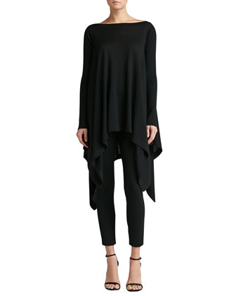Knit Bateau Tunic with Ribbed Sleeves & Stretch Milano Knit Alexa Slim ...