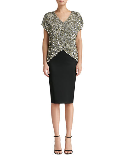 St. John Collection Sequined V-Neck Cap Sleeve Top & Stretch Satin Pencil Skirt