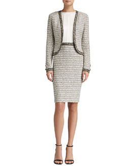 St. John Collection Ribbon Stripe Knit Bolero Jacket & Ribbon Stripe Knit Dress with Satin Bodice