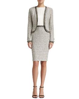 St. John Collection Ribbon Stripe Knit Bolero Jacket & Ribbon Stripe Knit Dress with Satin Bodice