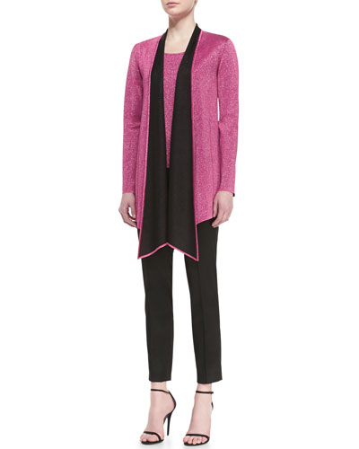 St. John Collection Double Face Sparkle Knit Cardigan, Shell & Pintuck Ankle Pant