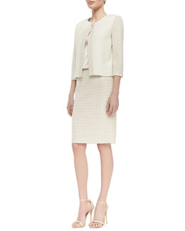 St. John Collection Mini Gilded Checked Knit Jacket, Sleeveless Satin Scoop-Neck Tank & Mini Gilded Checked Knit Pencil Skirt